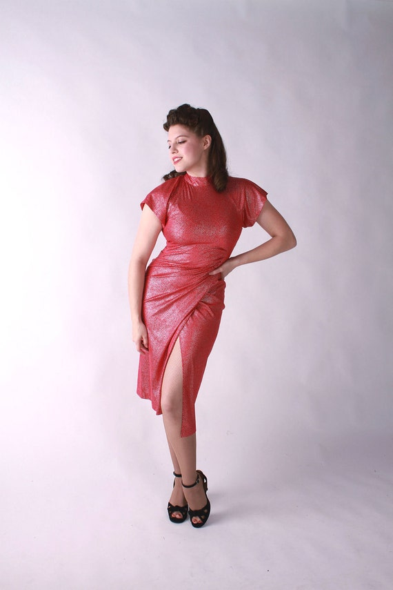 Vintage 1980s Dress - Utterly Scandalous 80s does 40s Red and Silver Bombshell Dress by Fredericks of Hollywood