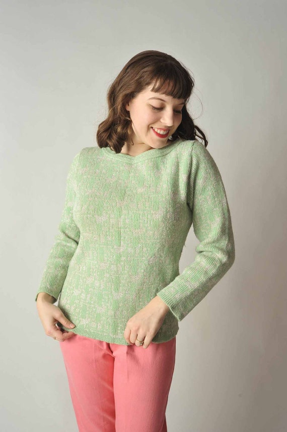 Vintage 1950s Sweater // Green and Silver Knit Pullover