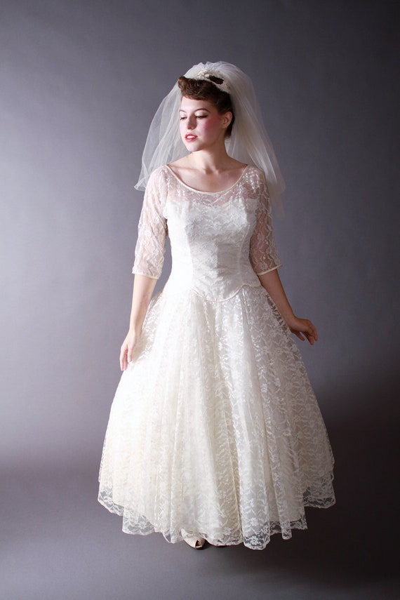Vintage 1950s wedding dress tea length wedding dress of lace for Etsy tea length wedding dress