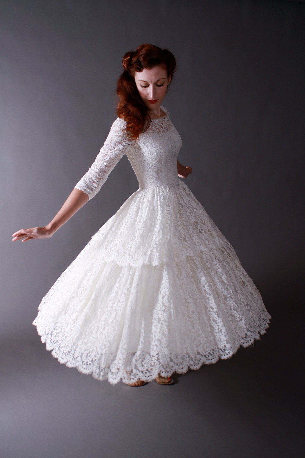 Vintage 1950s Tea Length New Look Wedding Dress Of Chantilly