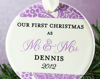 Newlywed Ornament Our First Christmas Mr and Mrs Wedding Ornament Personalized Wedding Gift - Majestic Pattern - Item# MAJ-MM-O