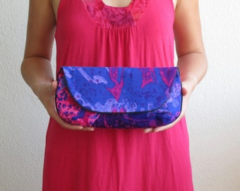 SALE Vintage Fabric Hawaiian Clutch Purse in Purple Violet Lavender Pink Size Large cc051 - ready to ship