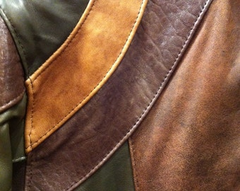 A most fun, unique, one of a kind  multi-colored lambskin leather men's jacket size S, M, L, Xl and Xxl - tailor made