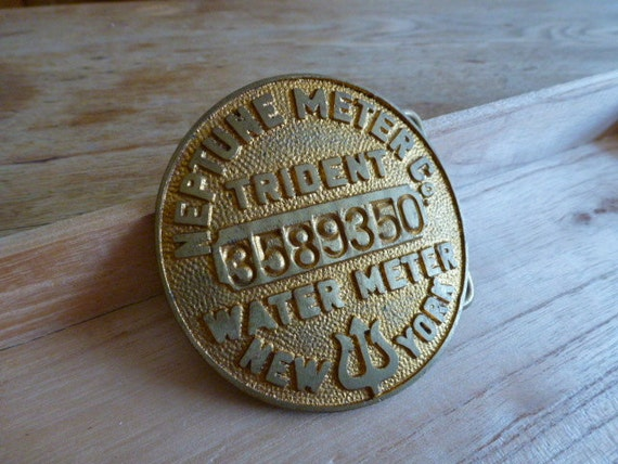 Vintage Neptune Water Meter Belt Buckle New York City