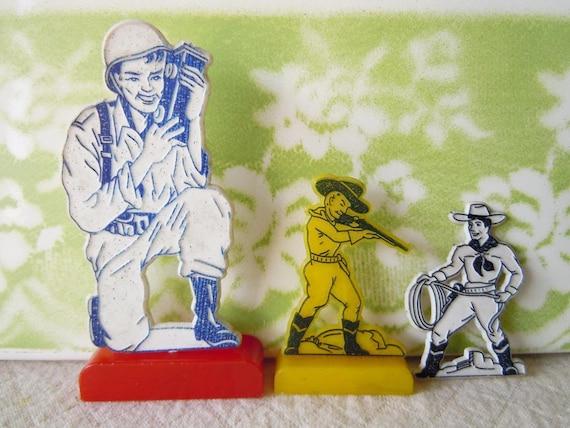 Vintage 1960s Toy Trinkets Miniature Figures Army Cowboys