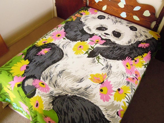 Sale Take 50 Off Vintage Twin Bedspread Blanket Cover Panda