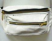 WHite Perforated Leather Fanny Pack