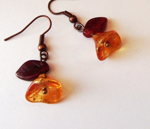AUTUMN SMILE Earrings with gold dusted orange, warm reddish brown, and copper.  Woodland Blooms of Fall...