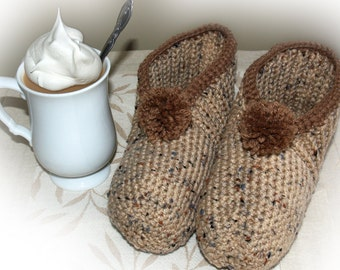 Brown Crocheted Slippers, Cafe Au Lait Crocheted Slippers, Coffee Inspired Slippers, Crocheted Adult Slippers, Brown Slippers, Warm Slippers