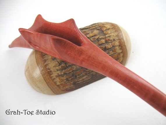 RESERVED Pink Ivory Wood Dragon Wing Hair stick Grahtoe Handmade