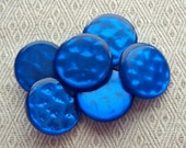 Cobalt Blue Sewing Buttons 23mm - 6 VTG Sapphire Electric Blue Vintage Plastic Shanks - 7/8 inch Waffle Shimmer Luminescent Buttons PL055 bb
