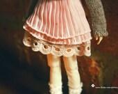 jiajiadoll-pink laced layered skirt fit momoko or misaki or blythe