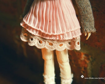 jiajiadoll-pink laced layered skirt fit momoko or misaki or blythe