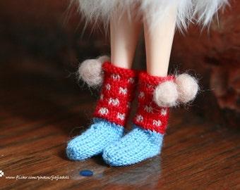 jiajiadoll- Hand Knit- red dot pompom socks fits momoko- blythe -Misaki- Unoa light- Lati yellow