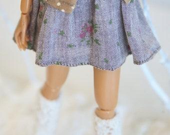 jiajiadoll-blue little flowered skirt for Momoko or Misaki or Blythe