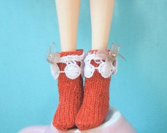 jiajiadoll- Hand Knit- orange red lace bowknot socks fits momoko- blythe -Misaki- Unoa light- Lati yellow