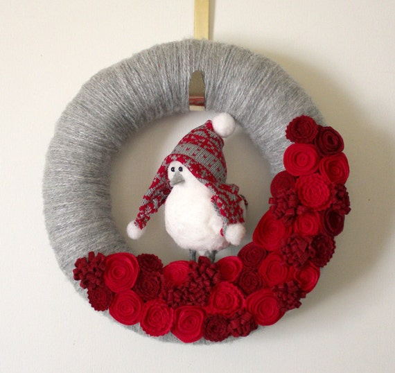 Bird Wreath, Winter Wreath, Red and Gray Wreath, Yarn and Felt Wreath, 12-inch size - LAST ONE