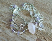 Artisan Rose Quartz and Amethyst Sterling Silver Bracelet