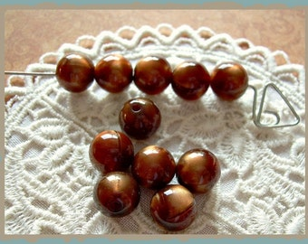 Copper Brown Vintage Lucite Beads 10 Tiger Eye Swirls 9mm