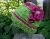 Raspberry Flower Beanie Handmade Knit Hat Casual and Pretty Style Raspberry Lime Seamless Cap from Textilesone Adult Size Ready to Ship