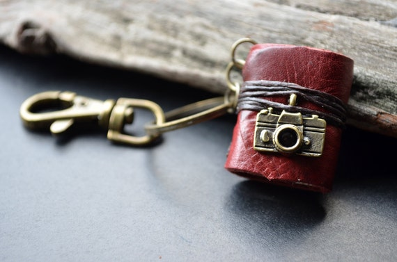 Miniature Book keychain Camera & Red color