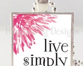 "CLOSEOUT SALE Live Simply Pendant and Necklace 1"" Square"