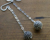 Super Chic Sterling Silver Bali Bead Dangle Earrings