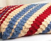 Blanket, Crochet Blanket afghan, diagonal stripes, blanket, hand crocheted, Blanket quilt