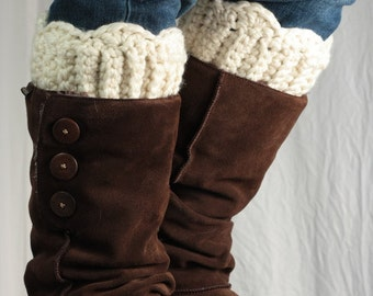 Boot cuff, boot topper, wool, cream natural, leg warmer