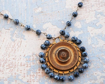 Gypsy Necklace - Antique Hardware and Black Snowflake Obsidian - Antique Hardware Collection