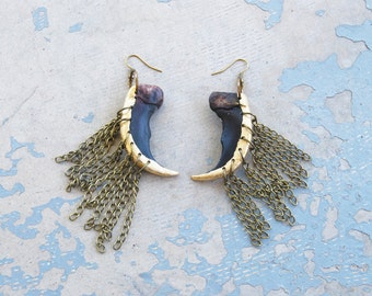 Gold Dipped Bear Claw Earrings - Modern Tribal Earrings - Chain Fringe