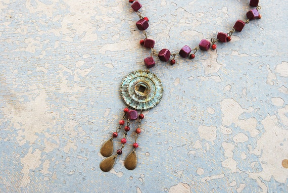 Gypsy Necklace - Purple Turquoise and Verdigris - Antique Hardware Collection