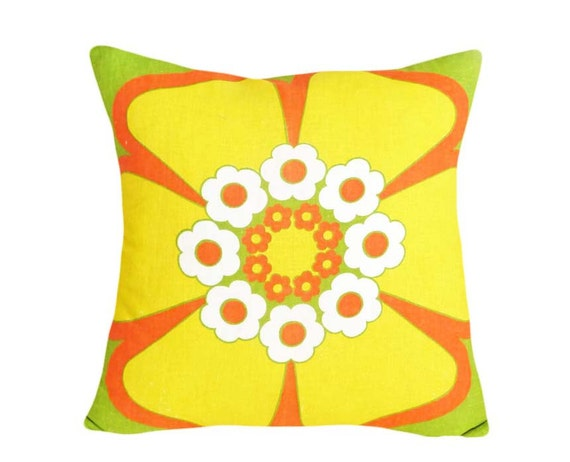 PILLOW SALE, Retro Vintage Mod Pillows, Yellow Orange Flower Pillow, Floral Cushion Cover, Unique, Teen Girls Dorm Decor, 16x16