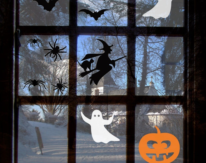 Halloween Window Sticker Set - Spooky Witch, ghosts, bats, spiders, witch's cat and pumpkin