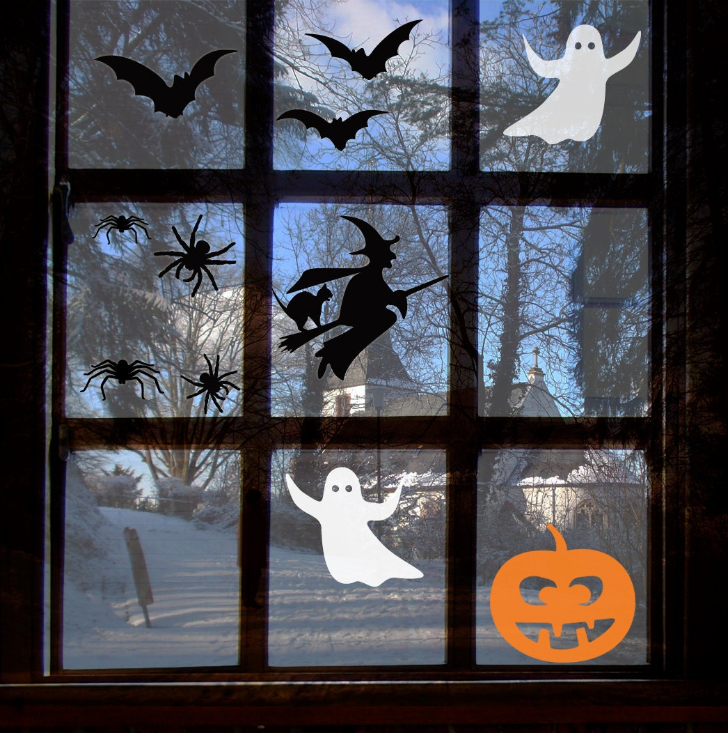 Scary Halloween Window Sticker Set - Spooky Witch, ghosts, bats, spiders,witch's cat and pumpkin
