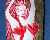 Red Mermaid Painting on Drift Wood- Hand Painted - Bathroom Decor-Beach House Decor