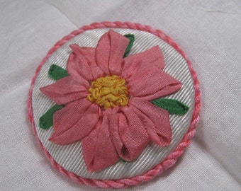Coral Pink Flower Brooch Silk Ribbon Embroidery