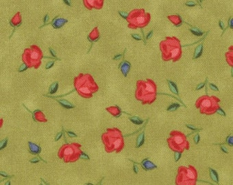 Julie Comstock of Cosmo Cricket for Moda, Odds and Ends, Rosebud in Leaf 37046.15 - 1/2 Yard