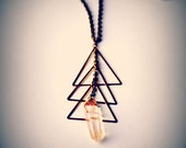 Clear Quartz Crystal, Brass Triangles, Long Brass Chain - Cuarzo Necklace