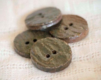 Rustic Woodfired Clay Wormwood Button - Ceramic - Pottery - Stoneware - Handmade