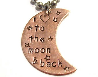 i love u to the moon & back, hand stamped necklace