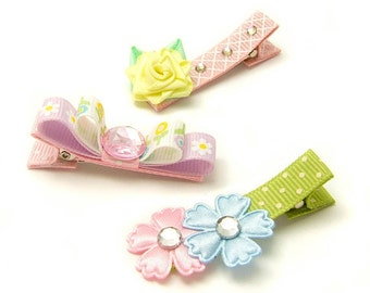 Flower Hair Clips for Girls, Spring Hair Clips, Fancy Hair Clips, Spring Shabby Chic Flower Clippies, Lavender, Pink, Blue, Yellow, Girly
