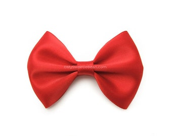 Red Hair Bow, 3 Inch Satin Bow, Satin Tuxedo Bow, Girls Hair Bow, Poppy Red, Newborn Baby Toddler Girls Womens Bow