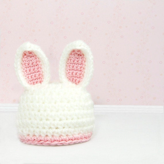 Crochet Bunny Hat Photo Prop, Baby Rabbit Beanie, Micro Preemie, Preemie, Newborn, Pink Rabbit Ears