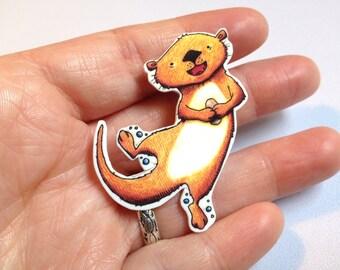 River Otter Pinback Button Brooch