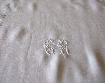 Vintage Hand embroidered linen tea towel tablecloth curtain, found in Normandy French linen with initials GR