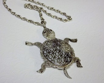 Large Turtle Statement Necklace Long Articulated 1970s Jewelry