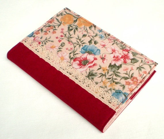 Fabric Journal - Autumn Garden - Handmade Fabric Cover A6 Notebook, Diary -  Warm Red Pink Blue Yellow Flowers and Green Leaves With Lace