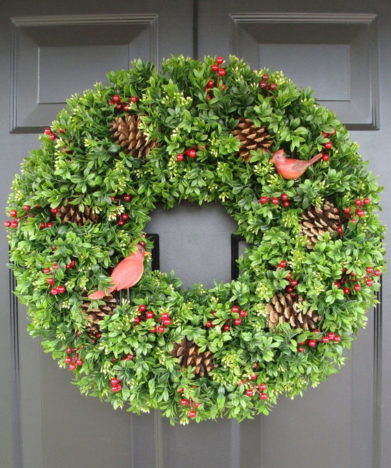 Christmas Faux Boxwood Wreath with Red Cardinals- Holiday Wreath Door Decor- Winter Wreath- Pinecone and Berry Boxwood Christmas Wreath