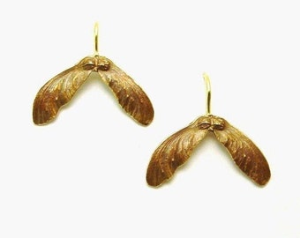 Japanese Maple Seed Earrings in Bronze and 14k gold, Drop Earrings, Botanical, Made to order
